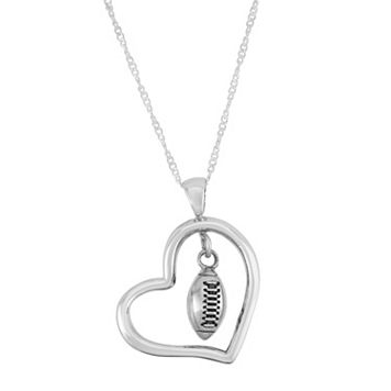 Dayna U Sterling Silver Football Charm Heart Pendant Necklace