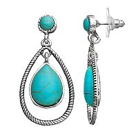 Simulated Turquoise Cabochon Nickel Free Teardrop Earrings