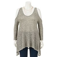 Juniors' Plus Size HeartSoul Cold Shoulder Lurex Tunic