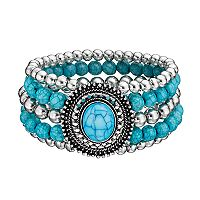 Simulated Turquoise Medallion Multi Strand Beaded Stretch Bracelet