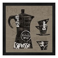 Metaverse Art Linen Coffee I Framed Wall Art