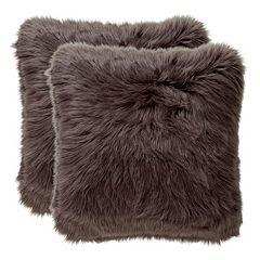 Safavieh Shadow Faux Fox Fur Throw Pillow 2 pc Set