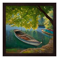 Metaverse Art Barca Sul Fiume Framed Wall Art