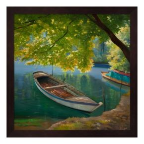 Metaverse Art Barca Sul Fiume Framed Wall Art