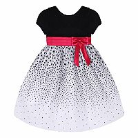 Girls Plus Size American Princess Velvet Top & Flocked Floral Skirt Dress