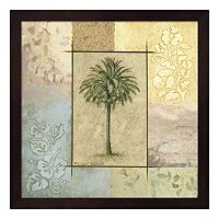 Metaverse Art Palm Woodcut II Framed Wall Art