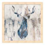 Metaverse Art Blue Rhizome Deer Wood Framed Wall Art