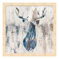 Metaverse Art Blue Rhizome Deer Wood Framed Wall Art