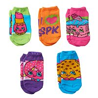 Girls 4-16 Shopkins D'Lish Donut, Lippy Lips & Kooky Cookie 5-pk. No-Show Socks
