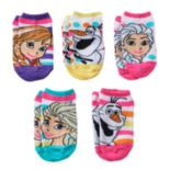 Disney's Frozen Anna, Elsa & Olaf Girls 4-16 5-pk. No-Show Socks