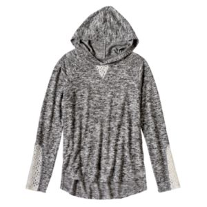 Girls 7-16 Mudd® Marled Lace Detail High-Low Hooded Tee