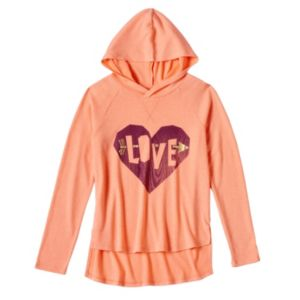 Girls 7-16 Mudd® Supersoft Plush Foil Graphic High-Low Hooded Tee