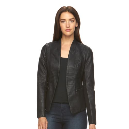 Women's Apt. 9® Textured Faux-Leather Blazer