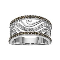 Silver Luxuries Marcasite & Crystal Wave Ring