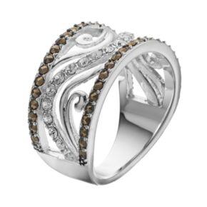 Silver LuxuriesMarcasite & Crystal Wave Ring