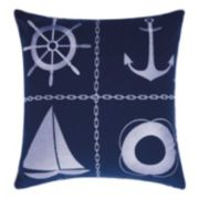 Mina Victory Nautical Grid Indoor / Outdoor Throw Pillow