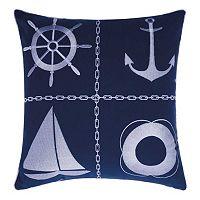 Mina Victory Nautical Grid Indoor / Outdoor Throw Pillow