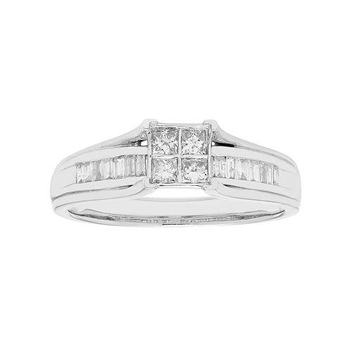 10k Gold 1/3 Carat T.W. Diamond Cluster Engagement Ring