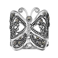 Silver Luxuries Marcasite & Crystal Butterfly Ring