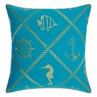 Mina Victory Nautical Diamonds Indoor / Outdoor Throw Pillow