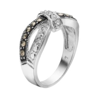 Silver LuxuriesMarcasite & Crystal Knot Ring