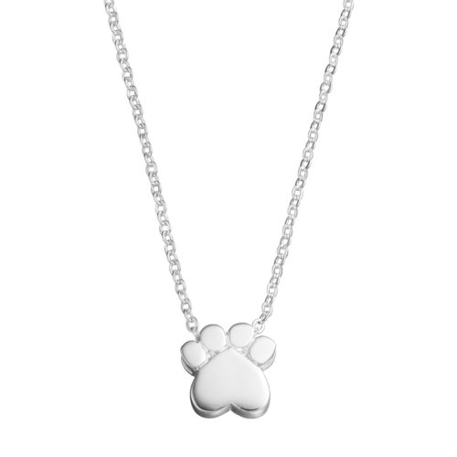 love this life Silver Plated Paw Print Pendant Necklace