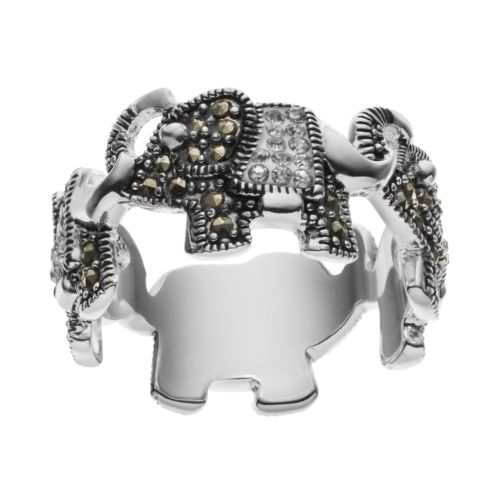 Silver Luxuries Silver Plated Marcasite & Crystal Elephant Ring