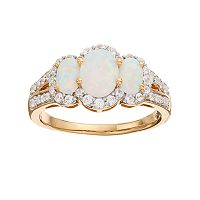 18k Gold Over Silver Lab-Created White Opal & White Sapphire 3-Stone Ring