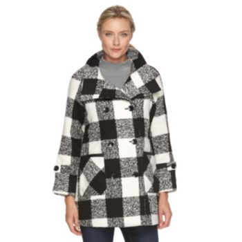 Women's KC Collections Buffalo Plaid Double-Breasted Jacket
