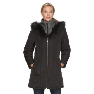 Women's KC Collections Hooded Wool Blend Puffer Jacket