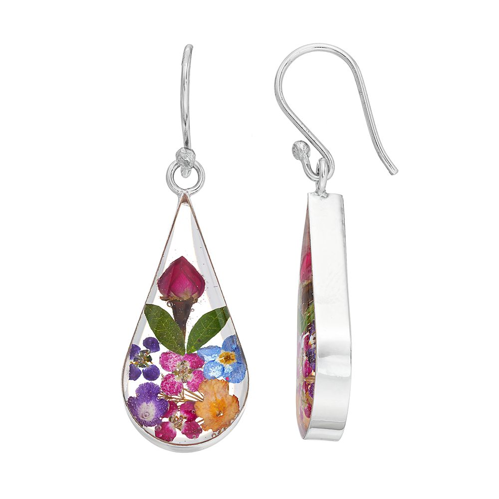 Sterling Silver Pressed Flower Teardrop
