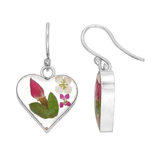 Sterling Silver Pressed Flower Heart Drop Earrings