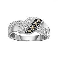 Silver Luxuries Marcasite & Crystal Ring
