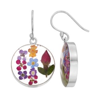 Sterling Silver Pressed Flower Circle Drop Earrings