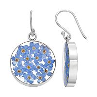 Sterling Silver Blue Pressed Flower Circle Drop Earrings