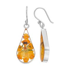 Sterling Silver Yellow Pressed Flower Teardrop Earrings