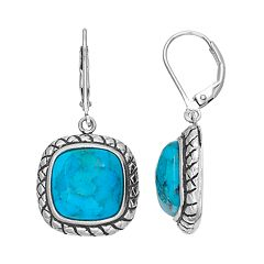 Sterling Silver Simulated Turquoise Drop Earrings