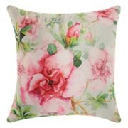 Mina Victory Watercolor Roses Indoor / Outdoor Throw Pillow