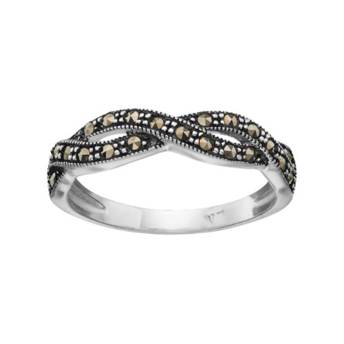 Silver Luxuries Marcasite Twist Ring