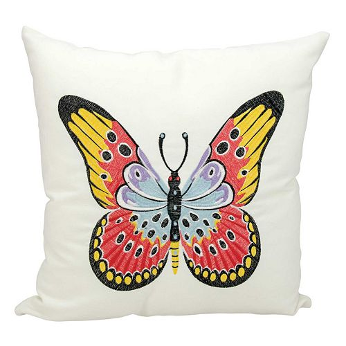 Kathy Ireland Red & Yellow Butterfly Indoor / Outdoor Throw Pillow