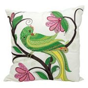 Kathy Ireland Whimsical Green Bird Indoor / Outdoor Throw Pillow