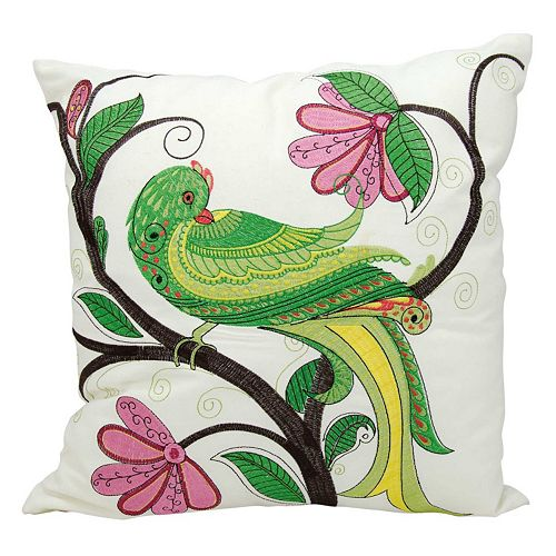 Kathy Ireland Whimsical Green Bird Indoor / Outdoor Throw Pillow