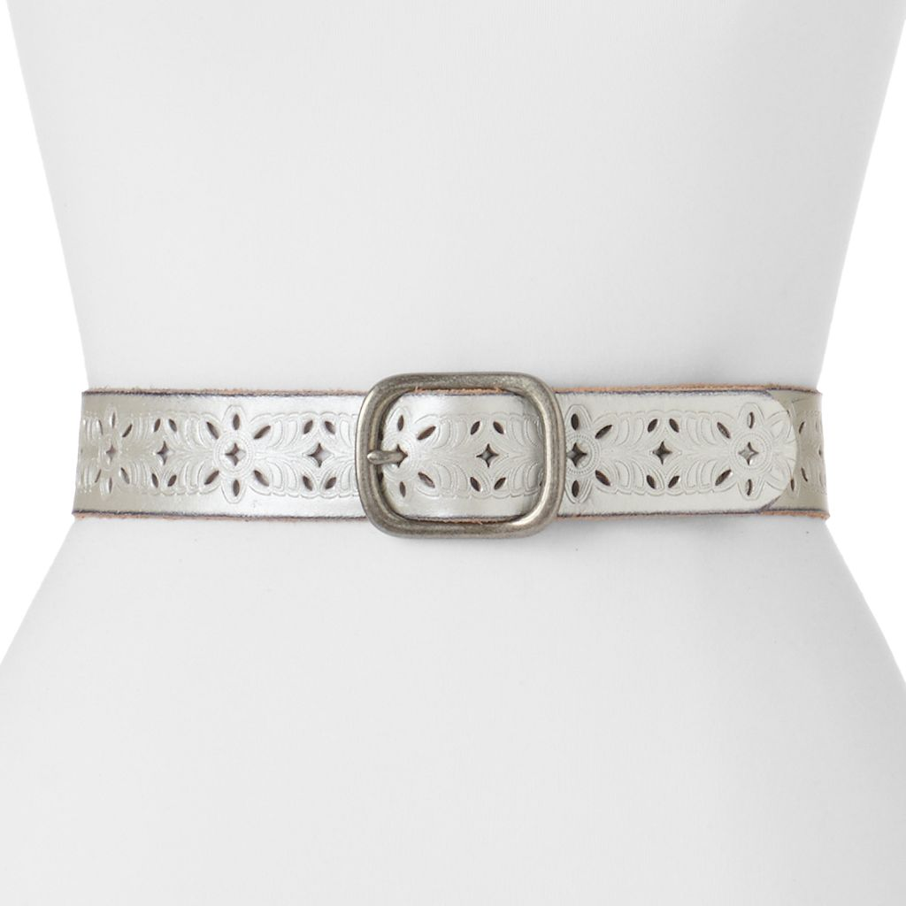 Women's Lee Floral Cutout Leather Belt
