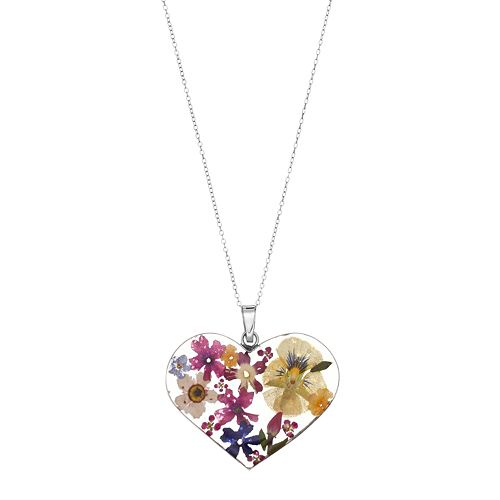 Sterling Silver Large Pressed Flower Heart Pendant Necklace