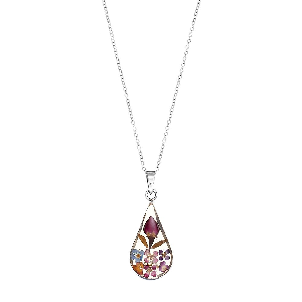 Sterling silver pressed flower teardrop pendant necklace aloadofball Image collections