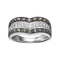Silver Luxuries Marcasite & Crystal Chevron Ring