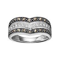 Silver LuxuriesMarcasite & Crystal Chevron Ring