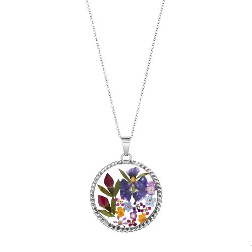 Sterling Silver Pressed Flower Circle Pendant Necklace
