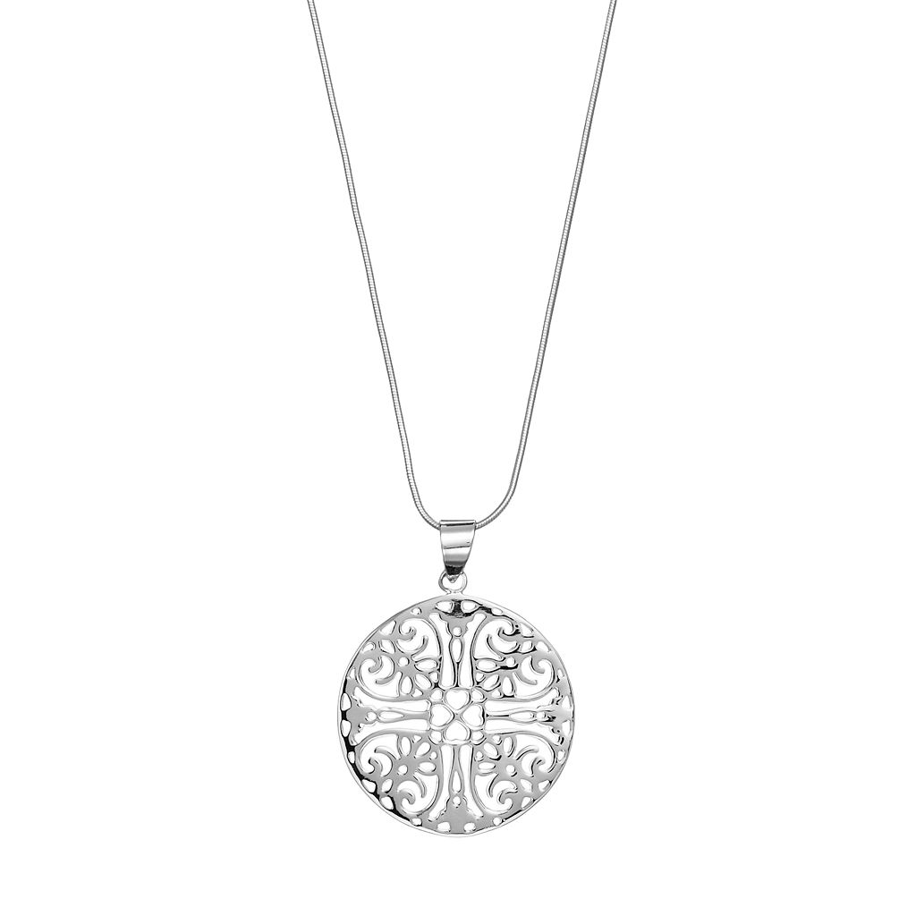 Sterling Silver Filigree Heart Circle Pendant Necklace