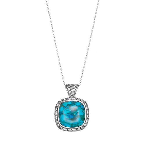 Sterling Silver Simulated Turquoise Square Pendant Necklace